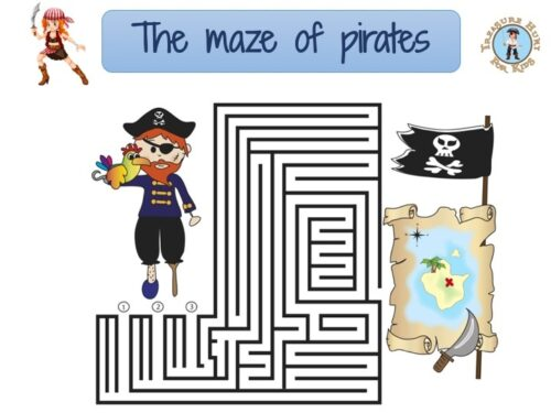 Free printable game for kids: maze of pirates