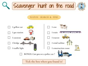 Scavenger hunt on the road is a great idea to occupy your kids on a long road trip