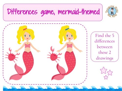 Free and printable mermaid differences game