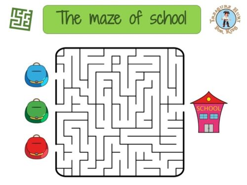 School maze: free printable game for kids