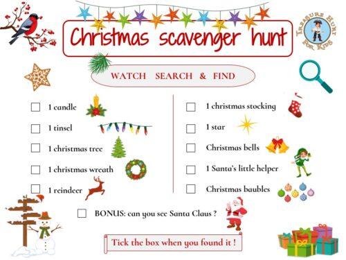 Free Christmas scavenger hunt for kids!