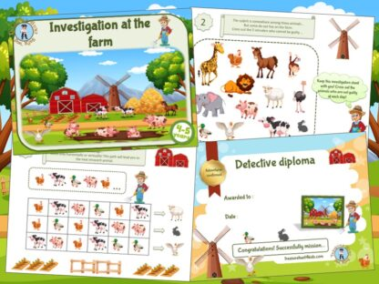 Printable adventure game of investigation at the farm