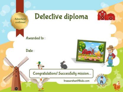 Printable & handwriting diploma for kids scavenger hunt