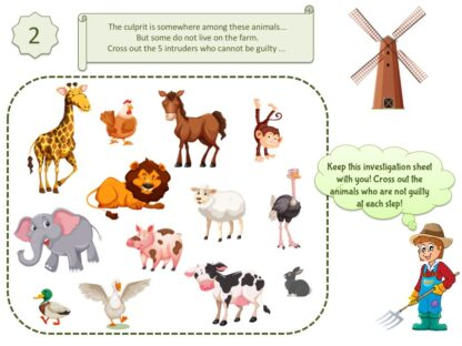 Print an entertaining activity for kids aged 4-5 years at the farm
