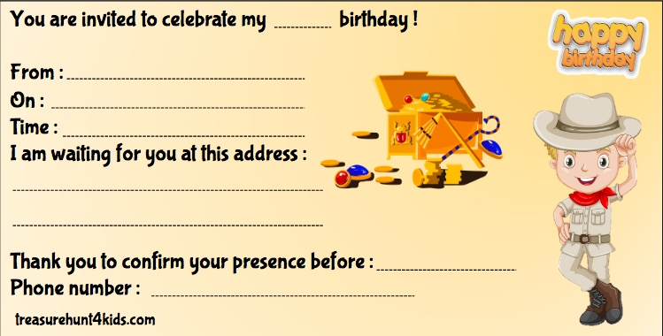 Printable birthday party invitation, Egypt-themed