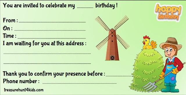 Printable birthday party invitation at the farm