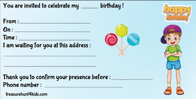 Birthday invitation for kids for cluedo party game