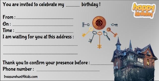 Free birthday party invitation for home escape room