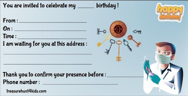 Escape game birthday party invitation