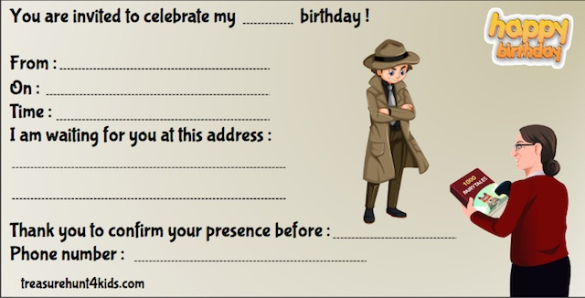 Birthday party invitation for detective mystery game