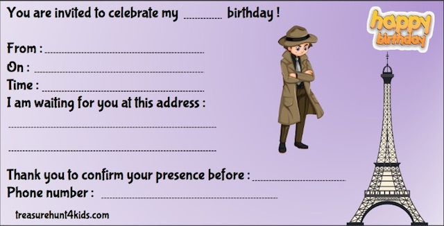 Birthday party invitation to print for kids, Paris-themed