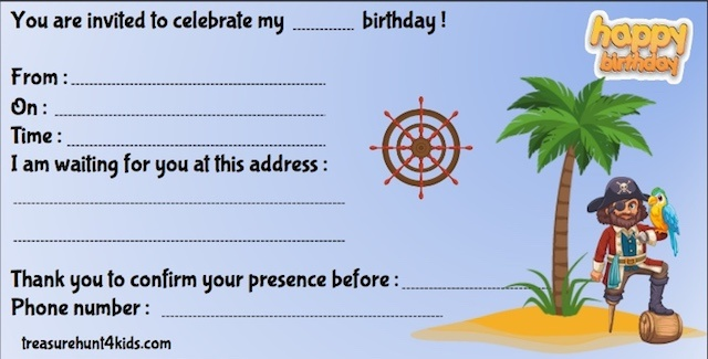 Birthday party invitation for treasure hunt game on the Pirate Island