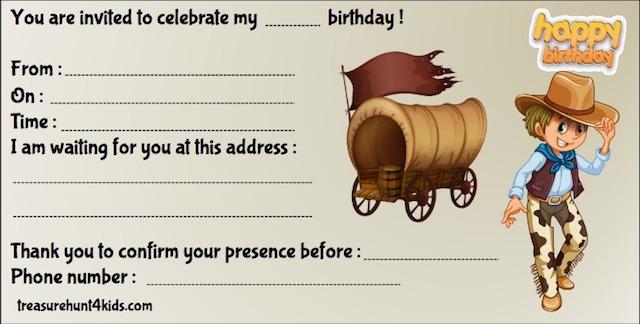 Cowboys birthday party invitation to print