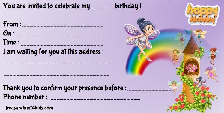 Fairies birthday party invitation for kids to print