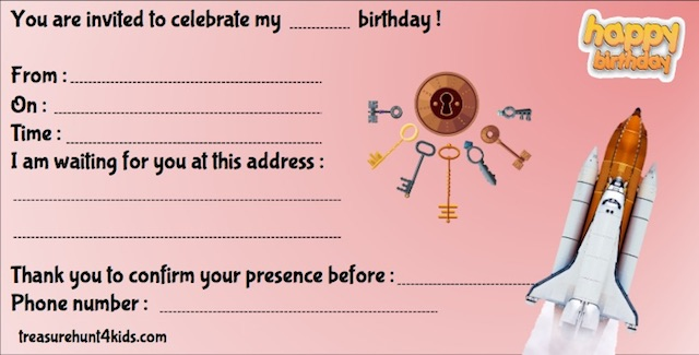 Print for free your birthday invitation for your Home escape room