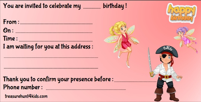Pirates and fairies birthday party invitations for treasure hunt game