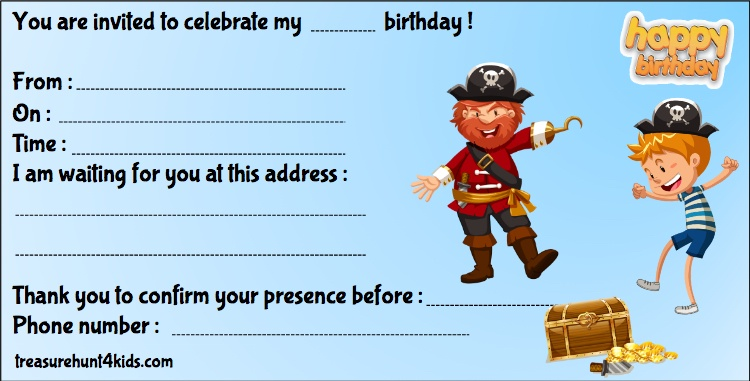 Pirates birthday party invitation for treasure hunt game for kids