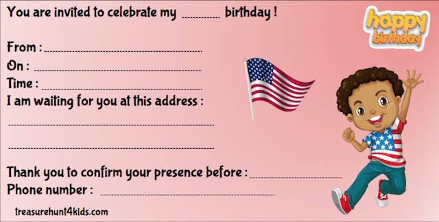 Birthday party invitation for kids for treasure hunt game in the United States