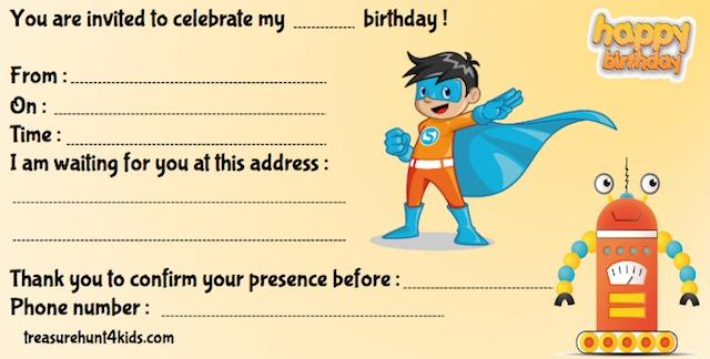 Superheroes birthday party invitation to print