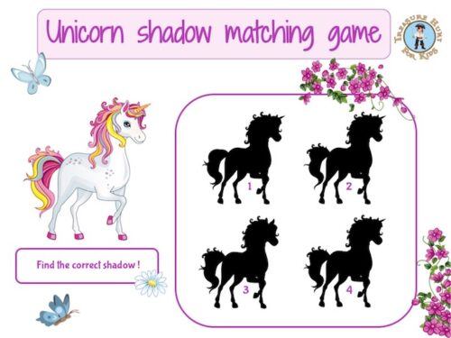 Unicorn shadow matching game to print for kids