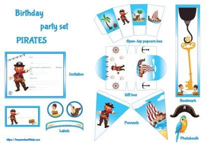 Pirate birthday party set to print
