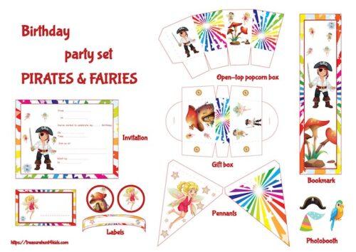 Pirates & fairies birthday party printables