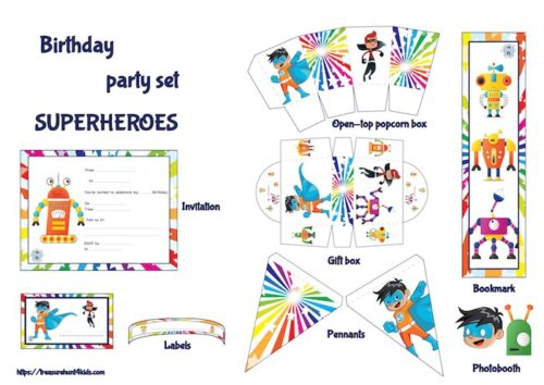 Superheroes birthday party set to print to decorate your birthday party