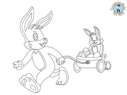Easter bunny coloring page for kids to print