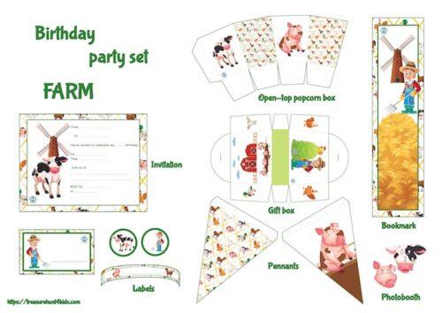 Farm birthday party set to print for kids