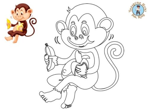 Monkey coloring page for kids to print