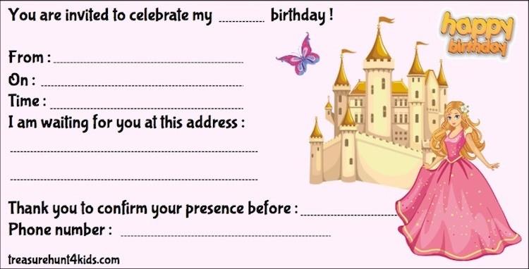 Printable princess birthday party invitation for kids