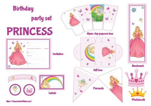 Princess birthday party set to print for kids