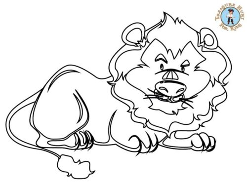 Lion coloring page for kids to print