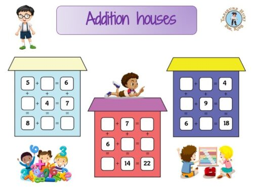 Educational game of addition houses for kids to print