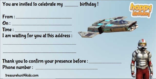 Star Wars birthday party invitation to print for kids