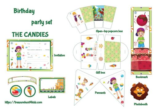 Candies birthday party set to print for kids