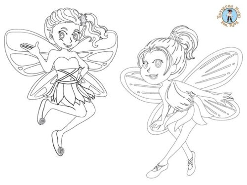 Printable fairies coloring page
