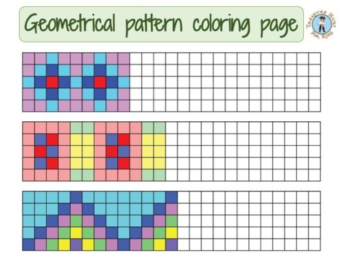 Geometrical pattern coloring page for kids