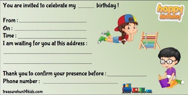 Kindergarten birthday party invitation to print