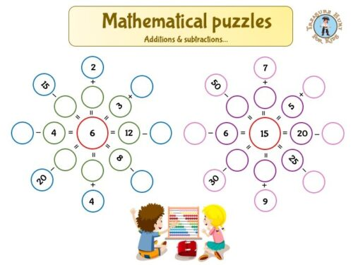 mathematical puzzles for kids: additions and subtractions