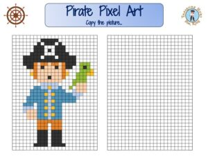 Pirate pixel art for kids to print : discover all our pirate party games