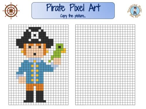 Pirate pixel art for kids to print