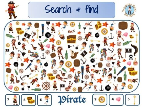Pirate search and find to print for kids