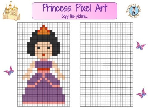 Printable princess pixel art for kids