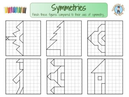 Printable axis of symmetry exercices for kids