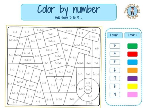 Addition color by number math worksheet first grade