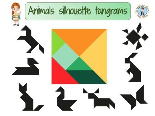 Printable animal silhouette tangram for kids