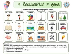 """Learn to play a french game called """"le baccalauréat"""""""
