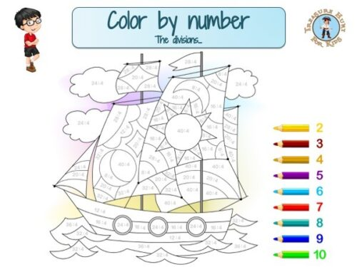 Color by number: math worksheet to learn divisions