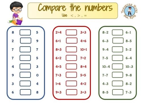 Comparing numbers: free math worksheet Fisrt grade